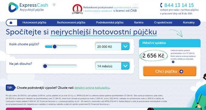 Web půjčka ExpressCash