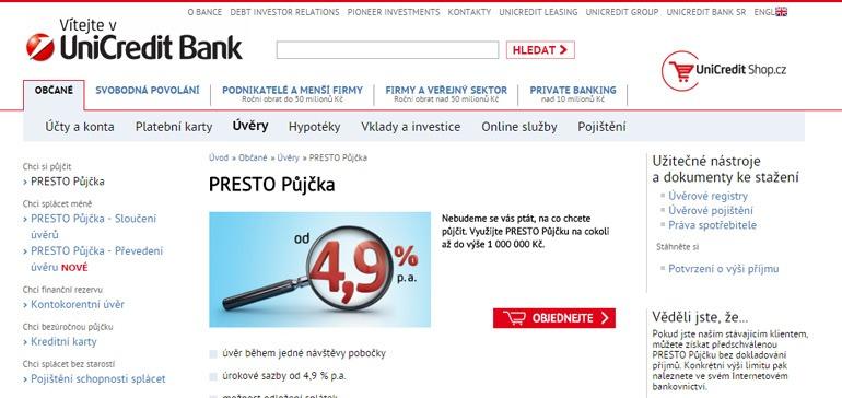 Informace o PRESTO půjčce od UniCredit Bank